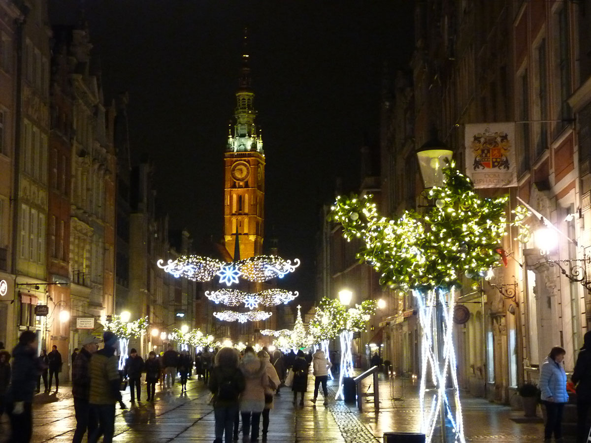 Christmas decorations in Gdansk Old Town